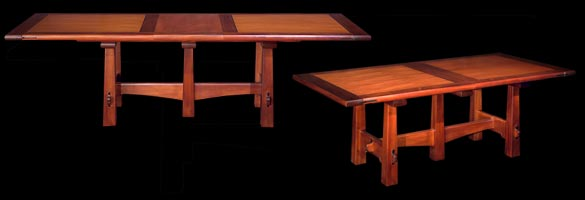 Pyramid Leg Table with and without leaf.